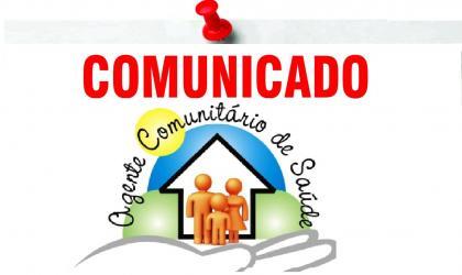 Comunicado – Agentes comunitários de saúde